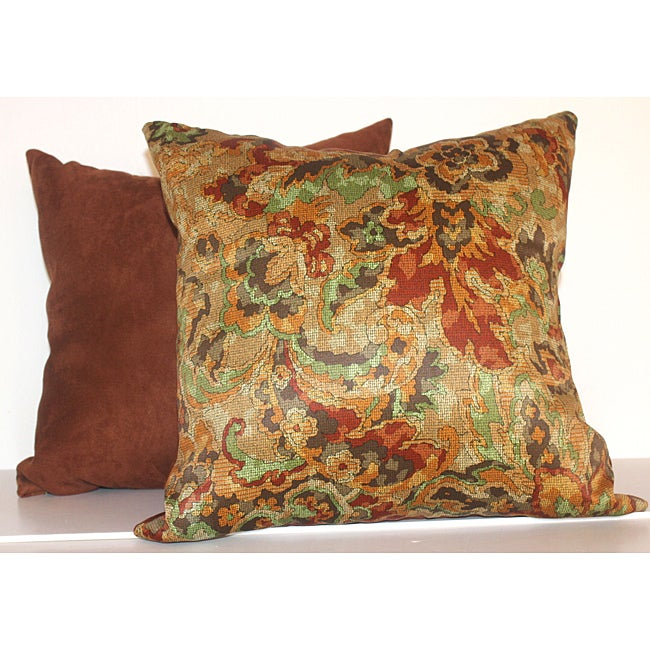 Fire Floral Rustic Red 16-inch Square Decorative Pillows (Set of 2) - Free Shipping Today ...