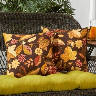 17-inch Outdoor Timberland Floral Square Accent Pillow (Set of 2)