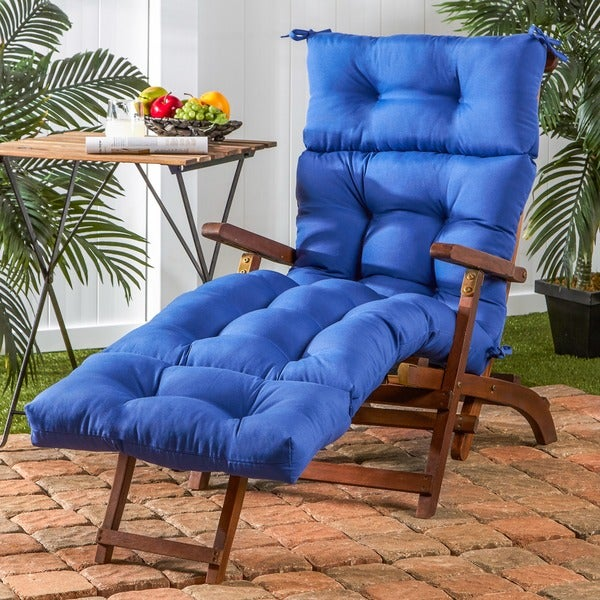 72 inch outdoor marine blue chaise lounger cushion free for Blue chaise cushions