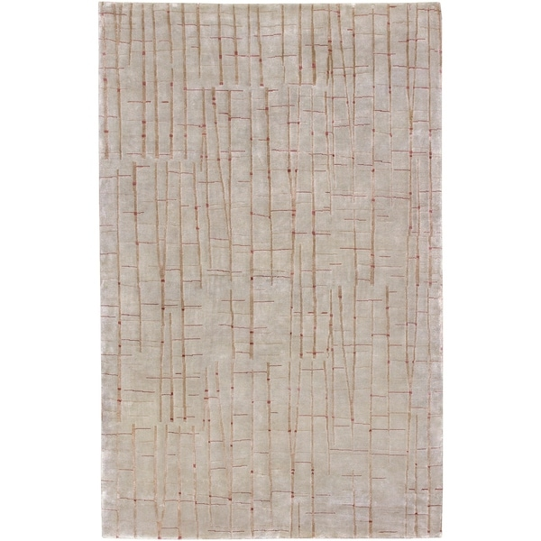 Hand-knotted Green Anatolia Abstract Design Wool Area Rug - 5' x 8'