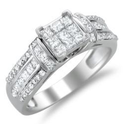 Montebello 14k White Gold 1ct TDW Diamond Composite Engagement Ring (H-I, I2)