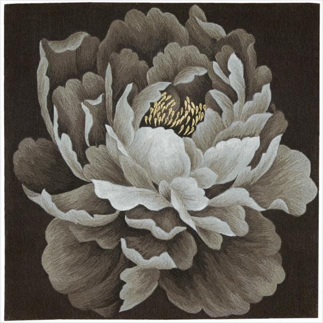 Nourison Hand Tufted Espresso Flower Art Wool Rug (6' x 6')