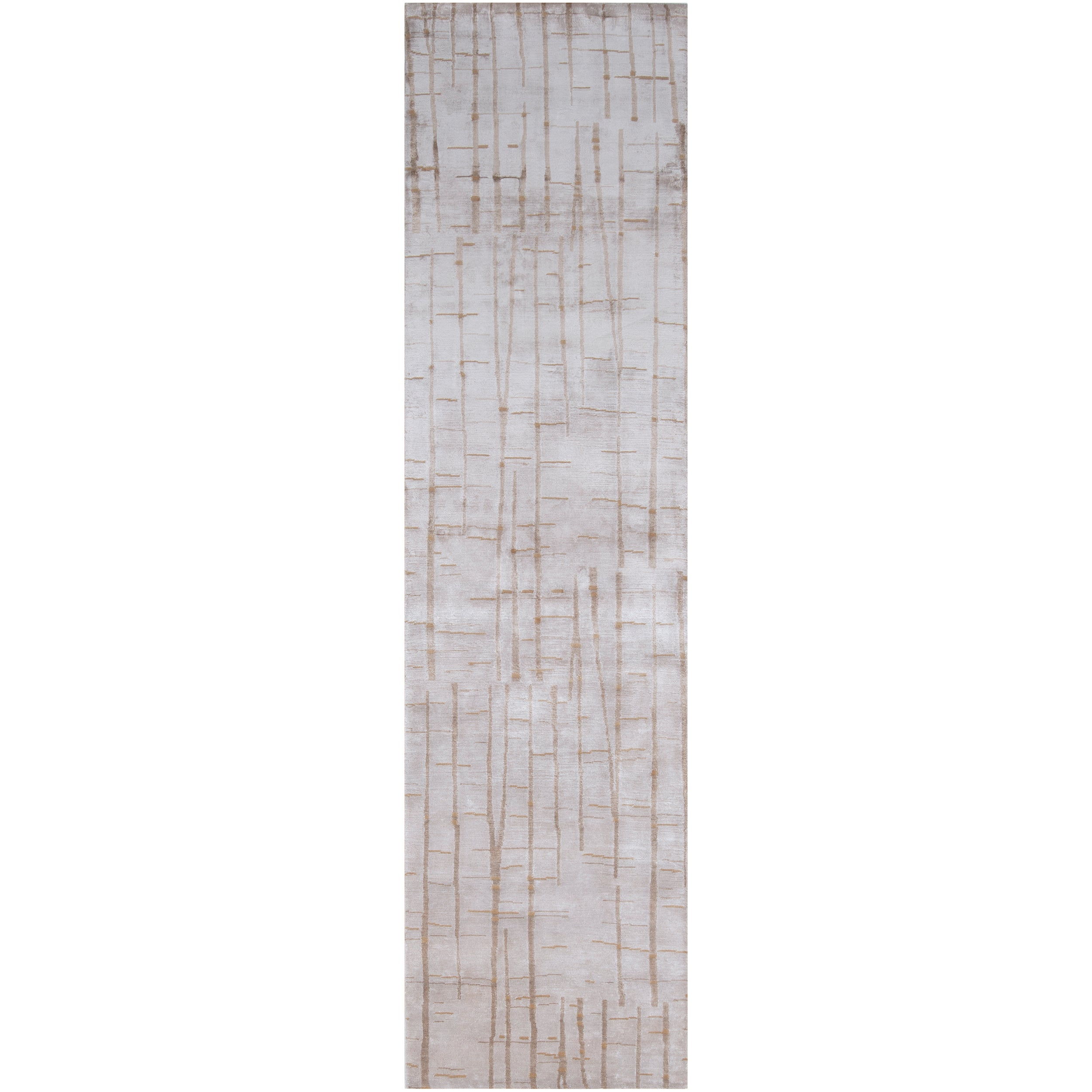 Hand-knotted Beige Veleka Abstract Design Wool Rug (2 '6 x 10')
