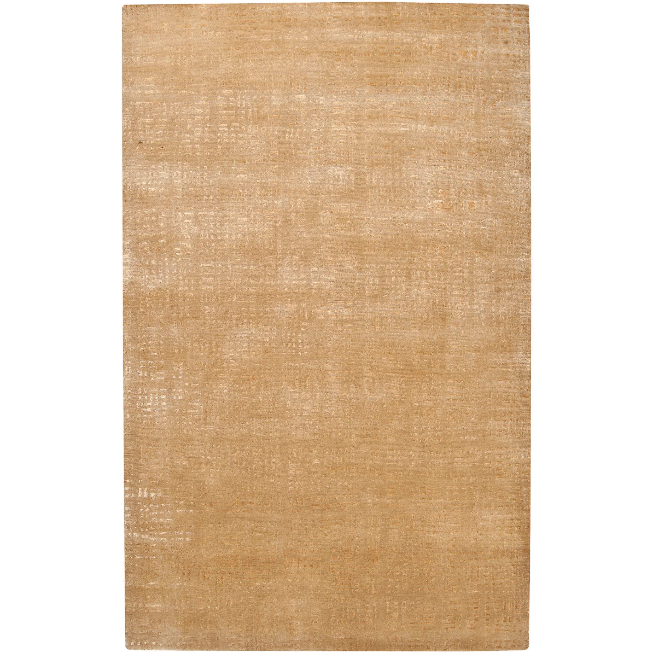 Hand-knotted Tan Porsuck Abstract Design Wool Rug (4' x 6')