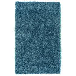 Hand-woven Blue Terme Soft Plush Shag Rug (3'6 x 5'6)