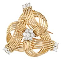 Pre-owned 18k Yellow Gold 1 1/2ct TDW 1960's Cartier Estate Brooch (G-H, VS1-VS2)