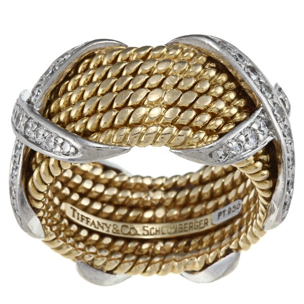 Tiffany 18k Gold and Platinum 3/4ct TDW Diamond Rope Ring (G-H, VS1-VS2)