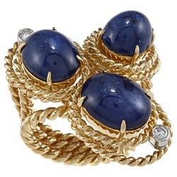 Pre-owned Aletto Brothers 18k Gold Sapphire and 1/3ct TDW Diamond Estate Ring (H-I, SI1-SI2)