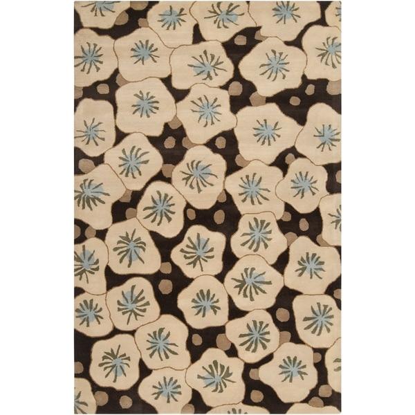 Hand-tufted Beige Tunceli Floral Wool Area Rug - 9' x 13'