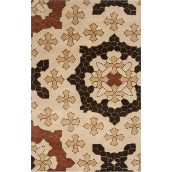 Hand-tufted Beige Konya Medallion Wool Area Rug - 9' x 13'