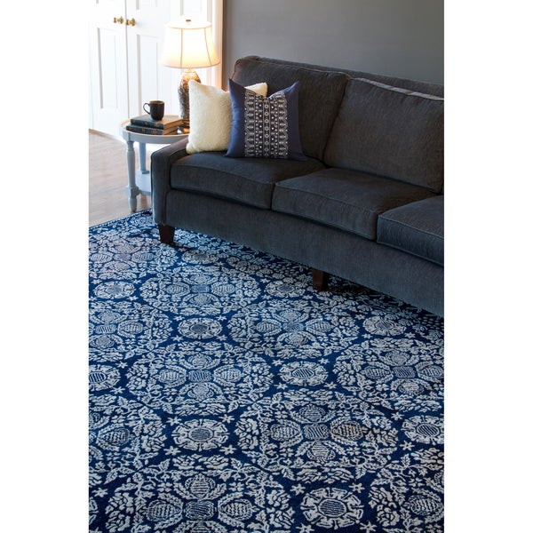Hand-tufted Blue Trabzon Oriental Pattern WoolArea Rug (9' x 13')