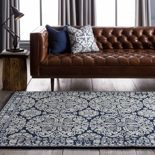 Hand-tufted Blue Trabzon Oriental Pattern WoolRug (9' x 13')