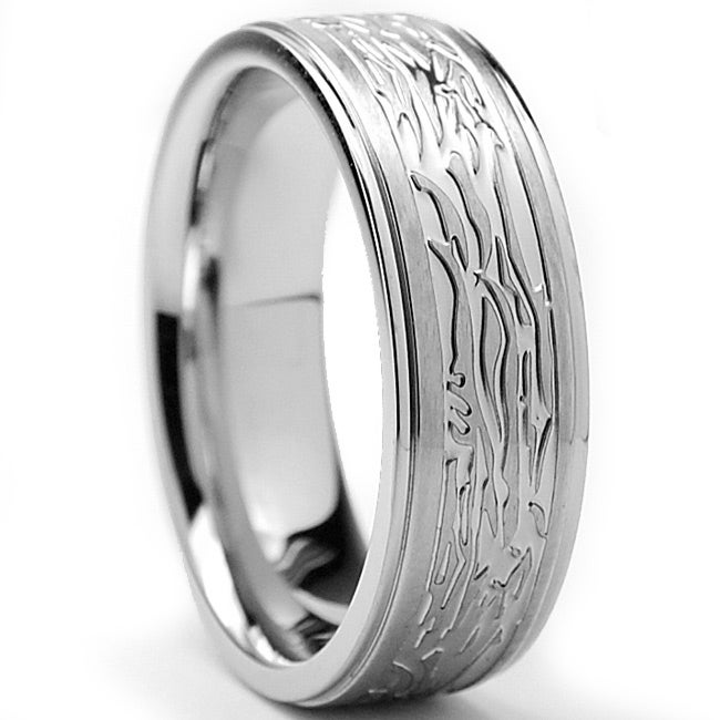 Oliveti Stainless Steel Men's Textured Tree Bark Design Ring (7 mm)