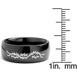 Oliveti Men's Black-plated Stainless Steel Barbed Wire Ring (8mm)