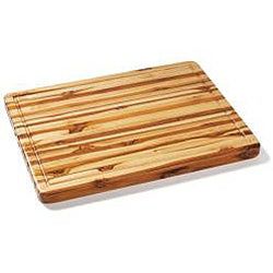 Proteak Rectangle Teak Cutting Board with Hand Grip and Juice Canal - Thumbnail 1