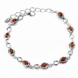 De Buman High-polish Sterling Silver Pear-cut Garnet Bracelet