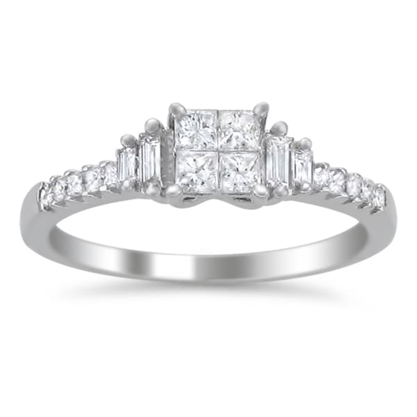 Montebello 14k White Gold 5/8ct TDW Diamond Composite Engagement Ring (H-I, I1-I2)