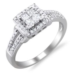 Montebello 14k White Gold 1/2ct TDW Diamond Composite Engagement Ring (H-I, I1-I2)