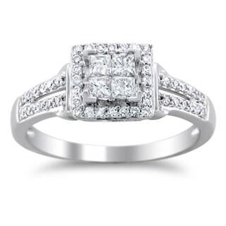 Montebello 14k White Gold 1/2ct TDW Diamond Composite Engagement Ring (H-I, I1-I2)