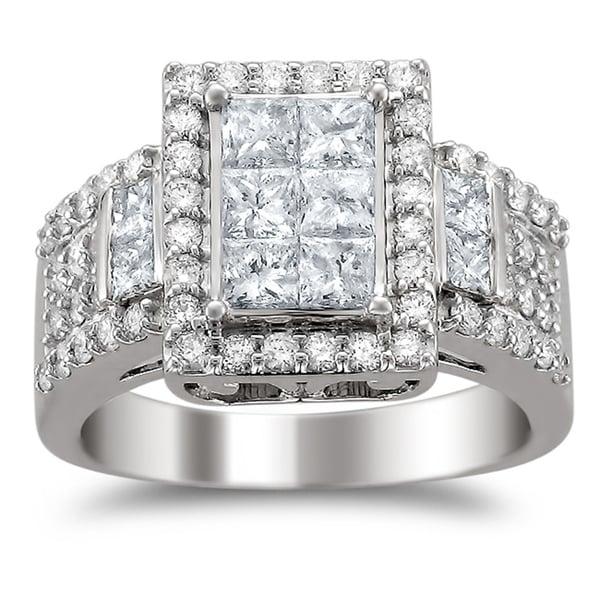 Montebello 14k White Gold 2ct TDW Diamond Composite Engagement Ring (H-I, I1-I2)
