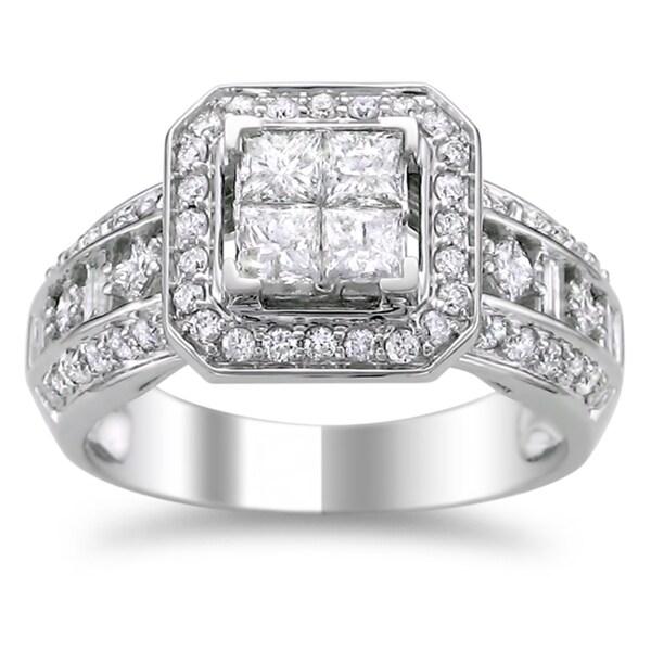 Montebello 14k White Gold 1 1/4ct TDW Diamond Composite Engagement Ring (H-I, I1-I2)
