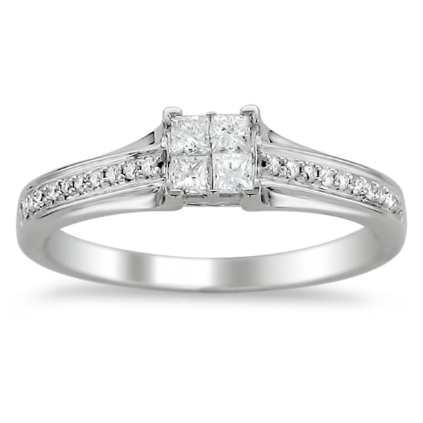 Montebello 14k White Gold 1/3ct TDW Diamond Composite Engagement Ring (H-I, I1-I2)