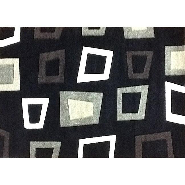 Modern Deco Black Trapezio Rug - 3'9 x 5'1