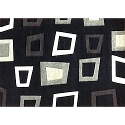 Modern Deco Black Trapezio Rug - 3'9 x 5'1 - Thumbnail 0
