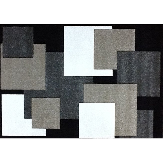 Modern Deco Black Boxes Rug - 7'9 x 10'5