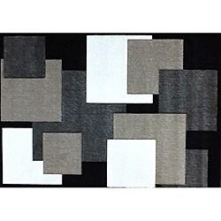 Modern Deco Black Boxes Rug - 7'9 x 10'5 - Thumbnail 0