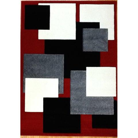 Modern Deco Red Boxes Rug - 7'9 x 10'5