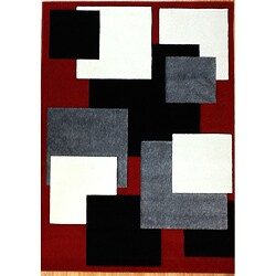 Modern Deco Red Boxes Rug (7'9 x 10'5) - 7'9 x 10'5