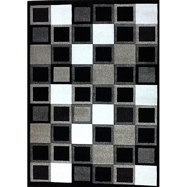 "Modern Deco Black Squares Rug - 3'9"" x 5'1"""