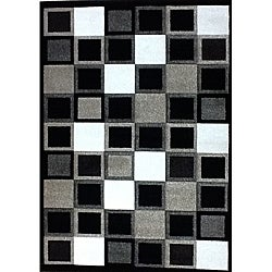 "Modern Deco Black Squares Rug - 3'9"" x 5'1"" - Thumbnail 0"