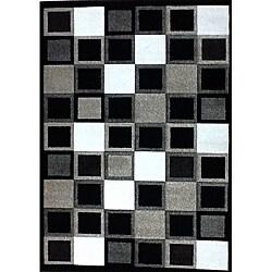 Modern Deco Black Squares Rug (7'9 x 10'5)