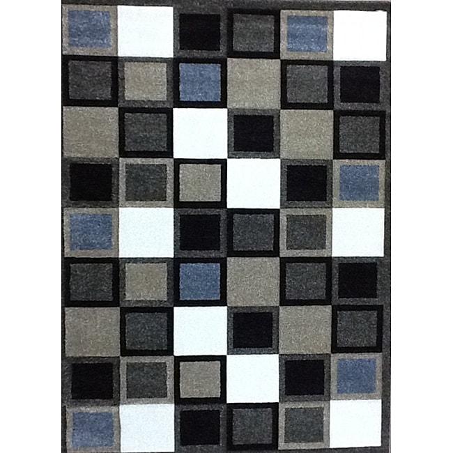 Modern Deco Fume Squares Rug - 3'9 x 5'1