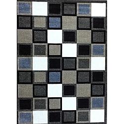 Modern Deco Fume Squares Rug - 3'9 x 5'1 - Thumbnail 0
