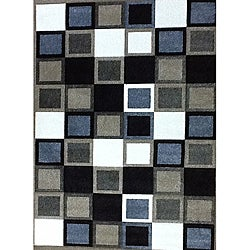 Modern Deco Champagne Squares Rug - 3'9 x 5'1 - Thumbnail 0