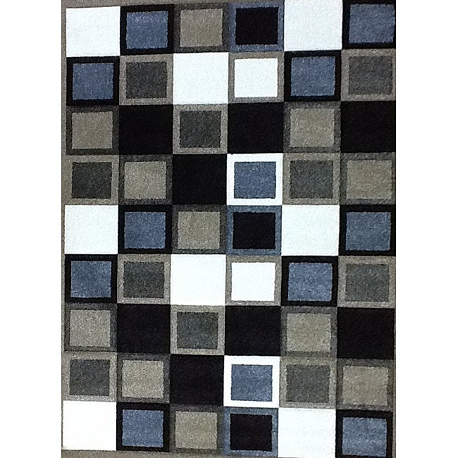 Modern Deco Champagne Squares Rug - 7'9 x 10'5