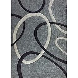 Modern Deco Fume Grey Circles Rug (3'9 x 5'1)