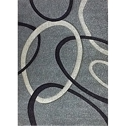 Modern Deco Fume Grey Circles Rug (5'2 x 7'2)