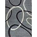 Modern Deco Fume Grey Circles Rug - 5'2 x 7'2
