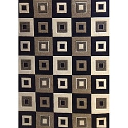 Modern Deco Black Blocks Rug (3'9 x 5'1)