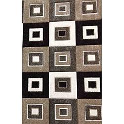 Modern Deco Grey/Brown Blocks Rug (7'9 x 10'5)