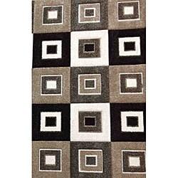 Modern Deco Grey/Brown Blocks Rug - 7'9 x 10'5