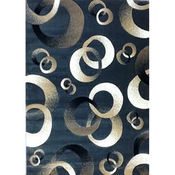 Generations Blue Abstract Circle Rug (5'2 x 7'2)