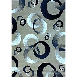 Generations Champagne Abstract Circle Rug (3'9 x 5'1)