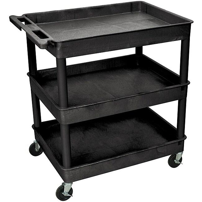 Shop Simple Living Rolling Galvin Microwave Cart: Shop Offex 3 Shelf Tub Utility Cart 32 W X 24 D Black