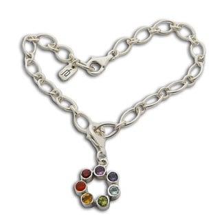 Sterling Silver Semi-precious Gemstone Chakra Charm Bracelet (Thailand)