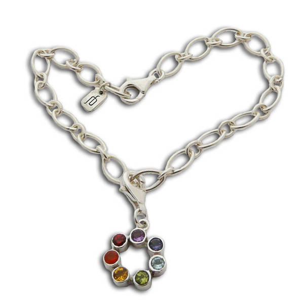 Handmade Sterling Silver Semi-precious Gemstone Chakra Charm Bracelet (Thailand)